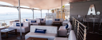 Absolut deck with a scenic outside area, fully enclosed under a Bedouin tent, with side blinds